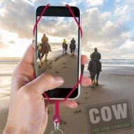 People horse riding on the beach. Three persons with horses at seaside rear view with beautiful backlight. Sport leisure and travel concepts