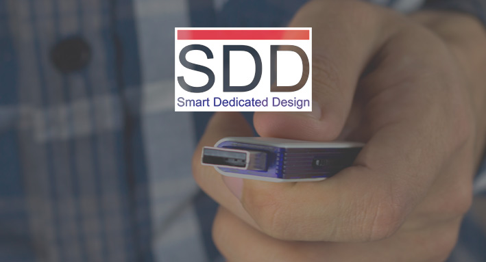SDD's custom made USB stick met logo